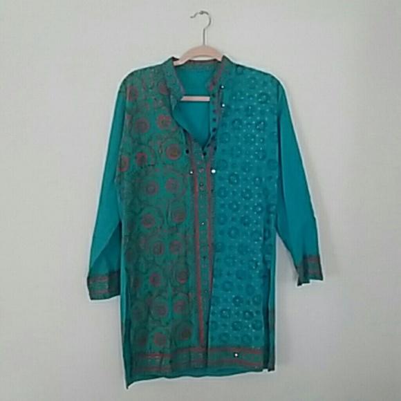 6521aff5be943 Vintage Tops   Bright Blue Indian Cotton Sari Tunic Xl   Poshmark